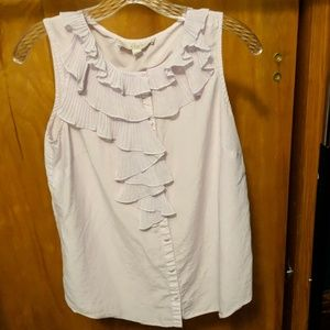 Womens Loft - ruffle front sleeveless blouse